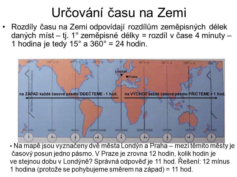 Procvičování: V Londýně je 12 hodiny, kolik hodin ve stejnou chvíli v těchto městech: -New York -Reykjavík -Řím -Belém -Káhira -Helsinky New York Belém Londýn Řím Káhira Helsinky Reykjavík