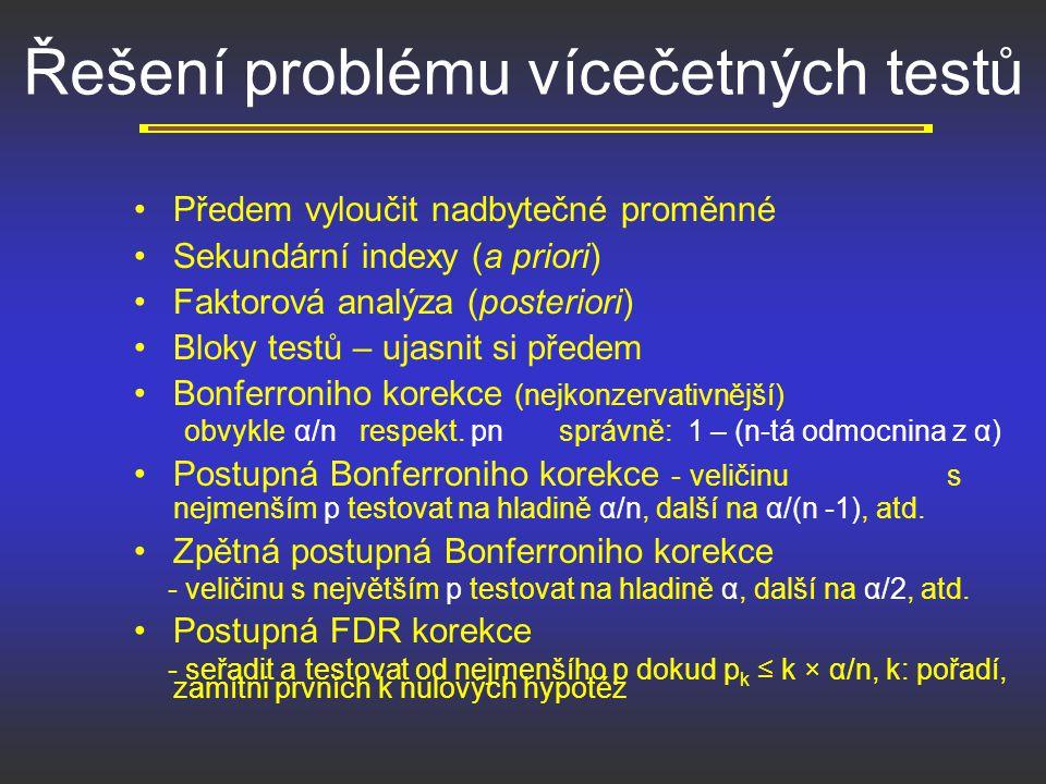 Řešení problému vícečetných testů Předem vyloučit nadbytečné proměnné Sekundární indexy (a priori) Faktorová analýza (posteriori) Bloky testů – ujasni