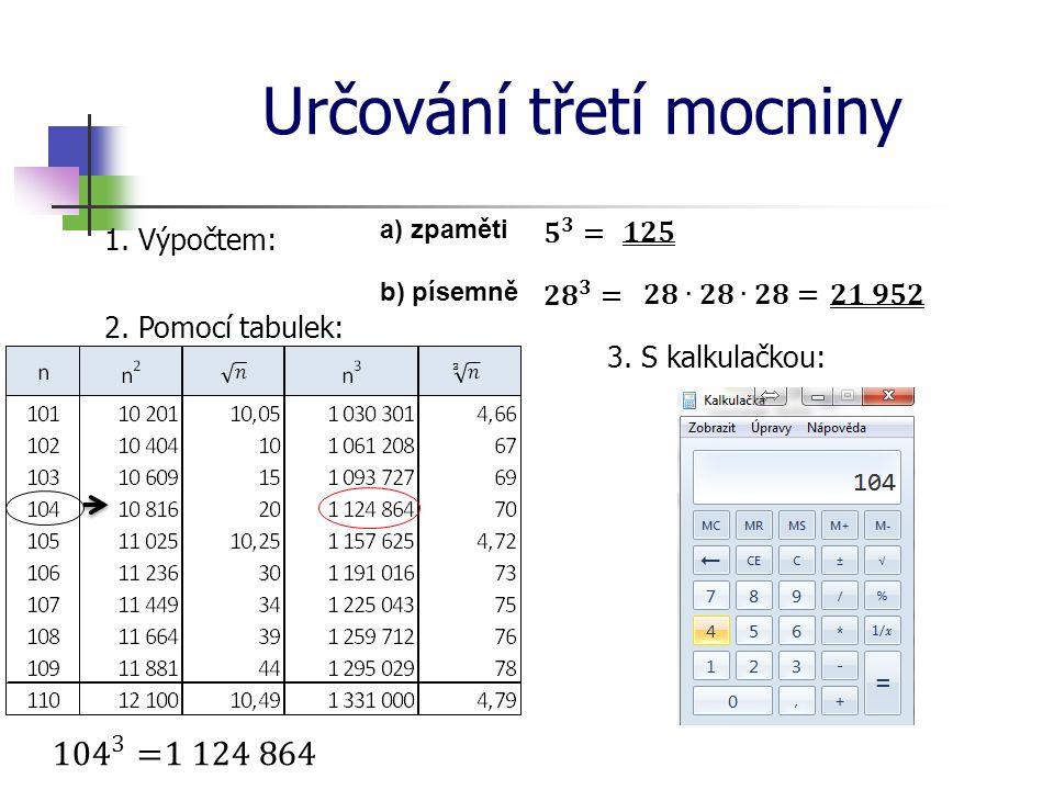 Určování třetí mocniny 1. Výpočtem: a) zpaměti b) písemně 2. Pomocí tabulek: 3. S kalkulačkou: