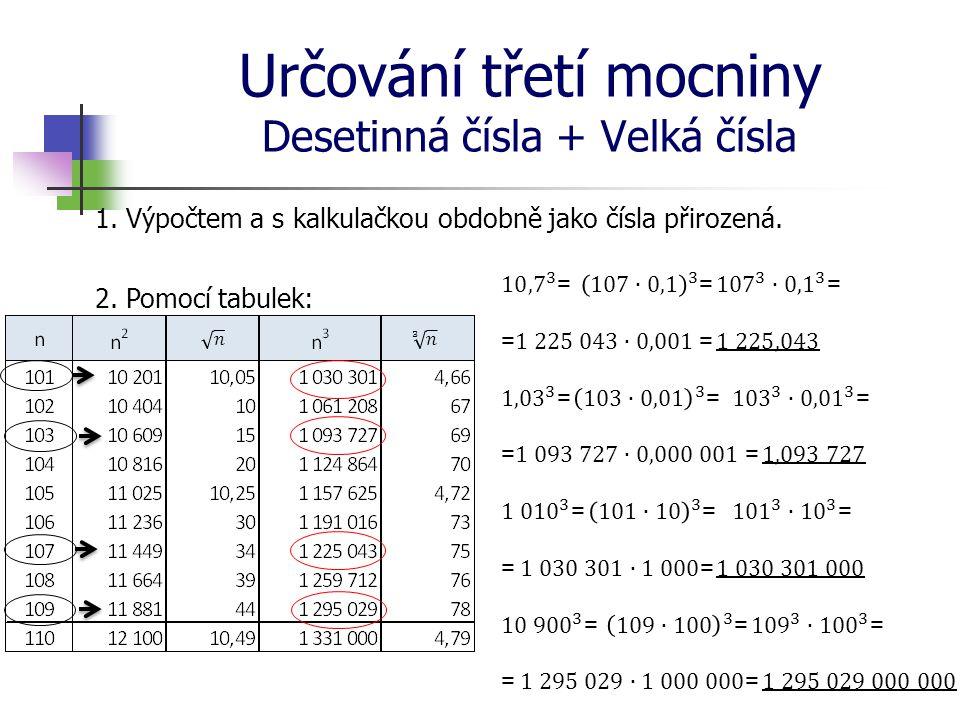 Určování třetí mocniny Desetinná čísla + Velká čísla 1. Výpočtem a s kalkulačkou obdobně jako čísla přirozená. 2. Pomocí tabulek:
