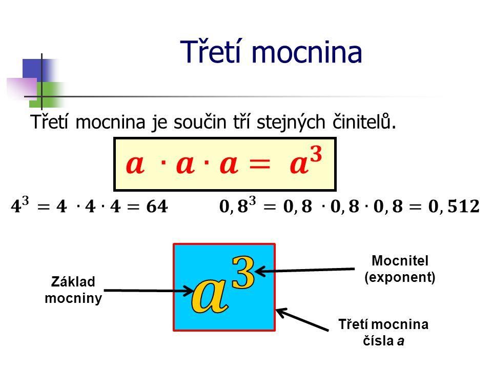 Třetí mocnina Třetí mocnina je součin tří stejných činitelů. Třetí mocnina čísla a Základ mocniny Mocnitel (exponent)