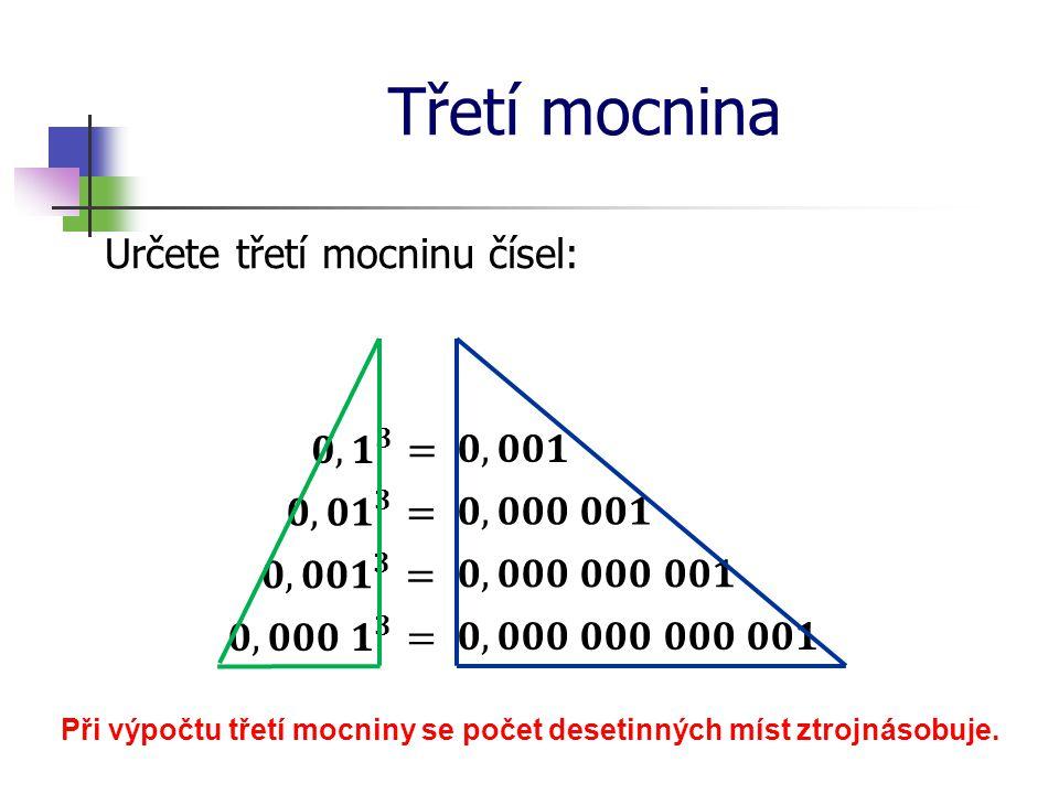 Třetí mocnina Určete druhou mocninu čísel: Základem mocniny je číslo -15 Základem mocniny je číslo 15