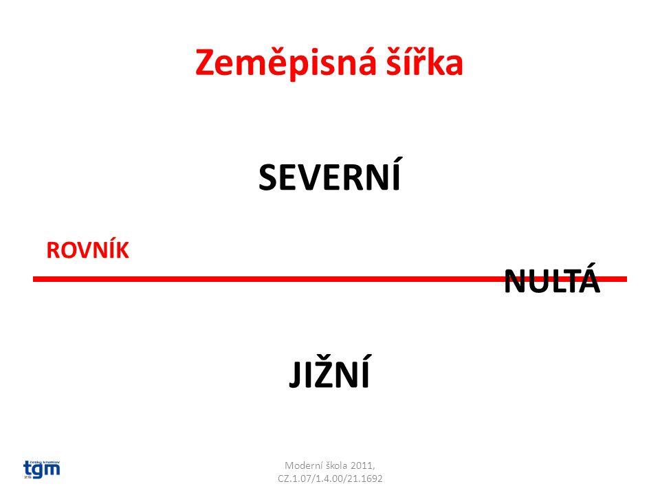 Zeměpisnou šířku určují rovnoběžky Moderní škola 2011, CZ.1.07/1.4.00/21.1692