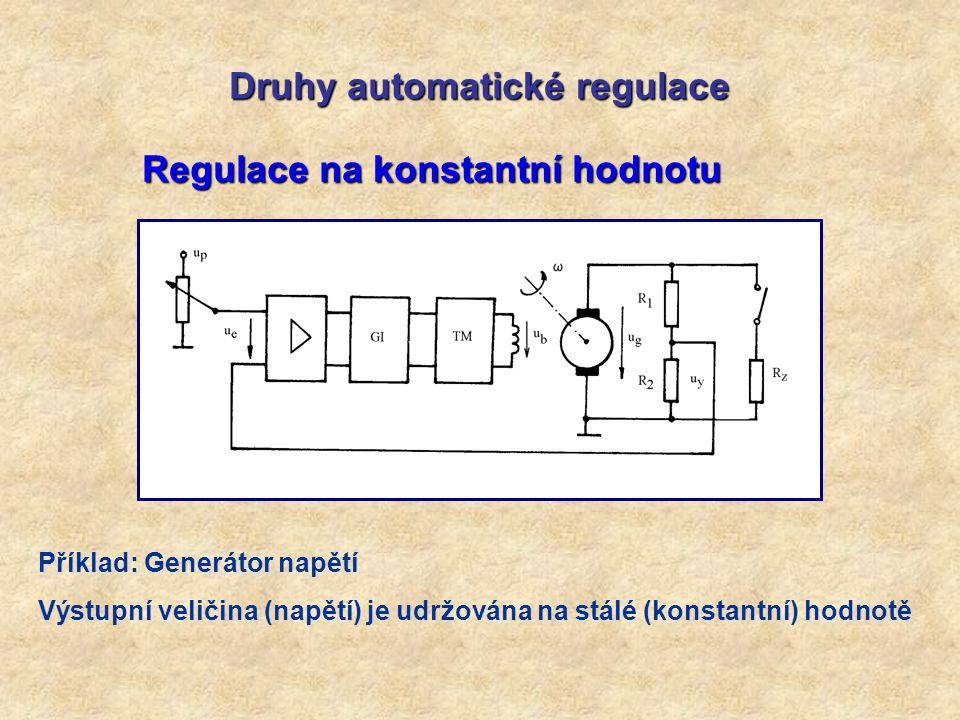 Druhy automatické regulace Regulace na konstantní hodnotu Příklad: Generátor napětí Výstupní veličina (napětí) je udržována na stálé (konstantní) hodn