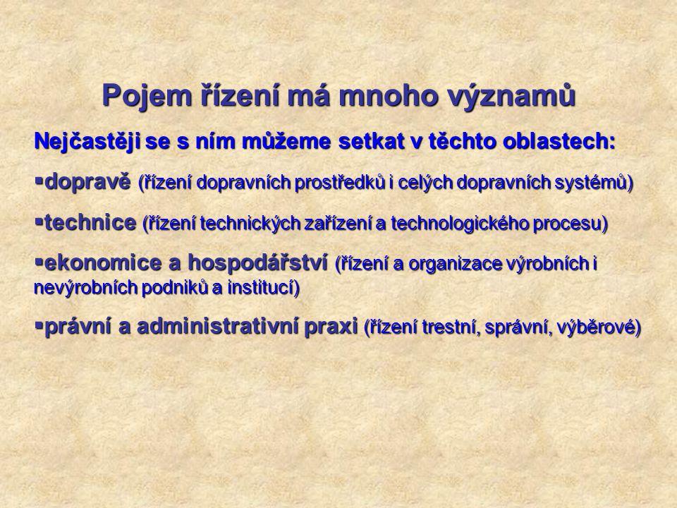 Pojem řízení má mnoho významů Nejčastěji se s ním můžeme setkat v těchto oblastech:  dopravě (řízení dopravních prostředků i celých dopravních systém