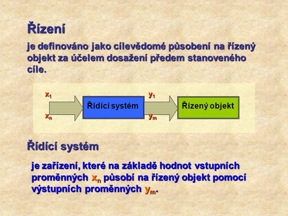 Řízení je definováno jako cílevědomé působení na řízený objekt za účelem dosažení předem stanoveného cíle. Řídící systém Řízený objekt y1y1ymymy1y1ymy