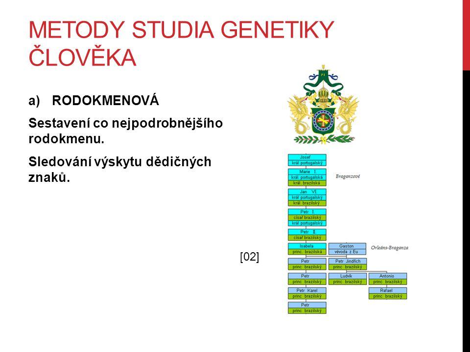 METODY STUDIA GENETIKY ČLOVĚKA a)RODOKMENOVÁ Sestavení co nejpodrobnějšího rodokmenu.