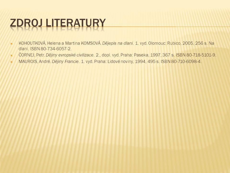  KOHOUTKOVÁ, Helena a Martina KOMSOVÁ. Dějepis na dlani. 1. vyd. Olomouc: Rubico, 2005, 256 s. Na dlani. ISBN 80-734-6057-2.  ČORNEJ, Petr. Dějiny e