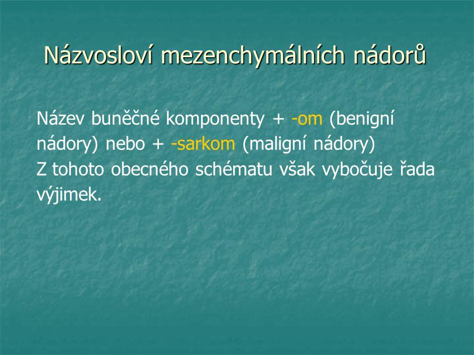 Názvosloví mezenchymálních nádorů Název buněčné komponenty + -om (benigní nádory) nebo + -sarkom (maligní nádory) Z tohoto obecného schématu však vybo