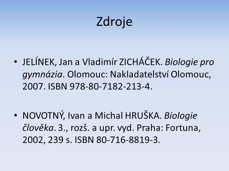 Zdroje JELÍNEK, Jan a Vladimír ZICHÁČEK. Biologie pro gymnázia. Olomouc: Nakladatelství Olomouc, 2007. ISBN 978-80-7182-213-4. NOVOTNÝ, Ivan a Michal