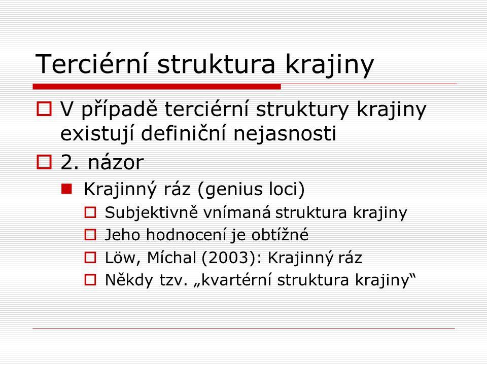 Terciérní struktura krajiny  V případě terciérní struktury krajiny existují definiční nejasnosti  2. názor Krajinný ráz (genius loci)  Subjektivně