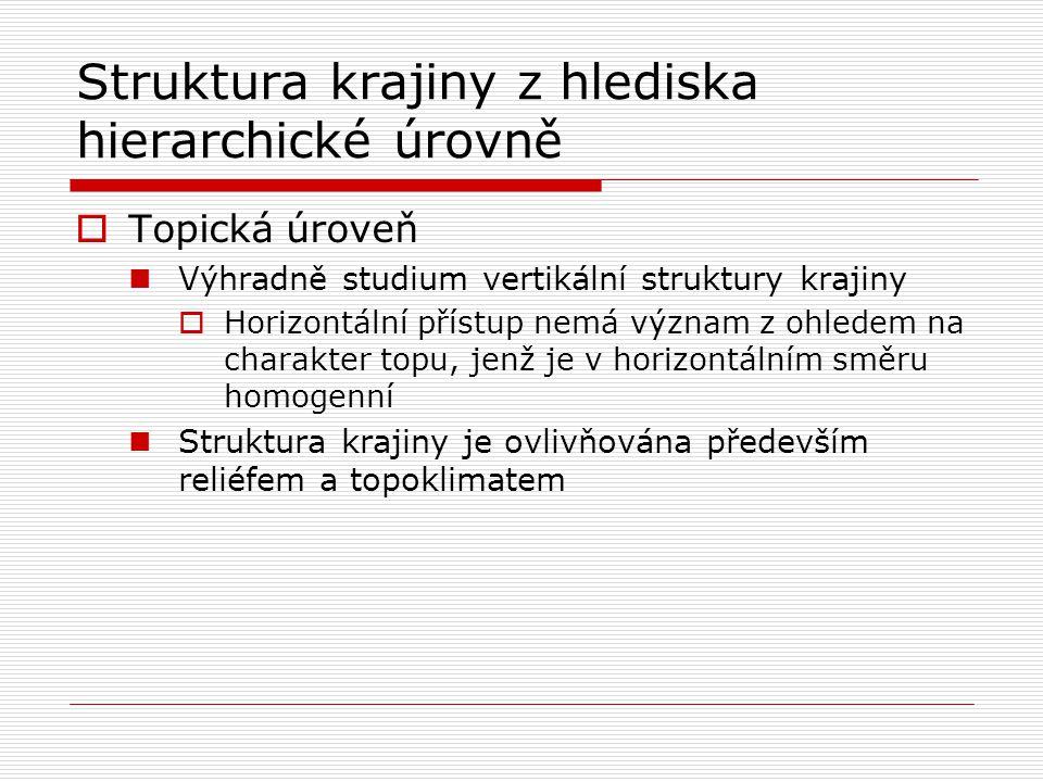 Struktura krajiny z hlediska hierarchické úrovně  Topická úroveň Výhradně studium vertikální struktury krajiny  Horizontální přístup nemá význam z o