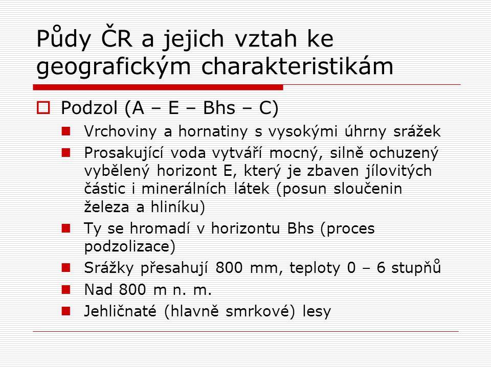 Půdy ČR a jejich vztah ke geografickým charakteristikám  Podzol (A – E – Bhs – C) Vrchoviny a hornatiny s vysokými úhrny srážek Prosakující voda vytv