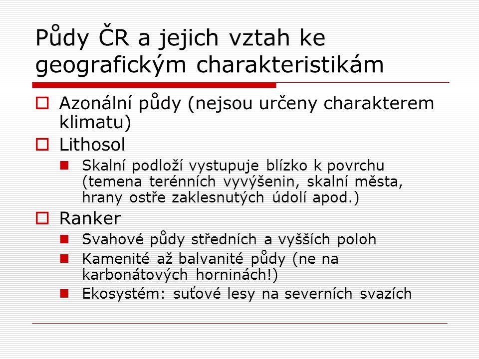 Půdy ČR a jejich vztah ke geografickým charakteristikám  Azonální půdy (nejsou určeny charakterem klimatu)  Lithosol Skalní podloží vystupuje blízko