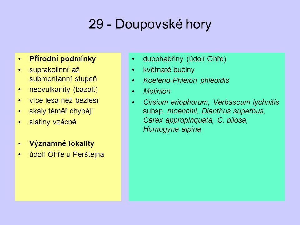 29 - Doupovské hory Přírodní podmínky suprakolinní až submontánní stupeň neovulkanity (bazalt) více lesa než bezlesí skály téměř chybějí slatiny vzácn