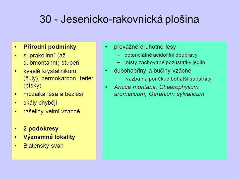 30 - Jesenicko-rakovnická plošina Přírodní podmínky suprakolinní (až submontánní) stupeň kyselé krystalinikum (žuly), permokarbon, teriér (písky) moza