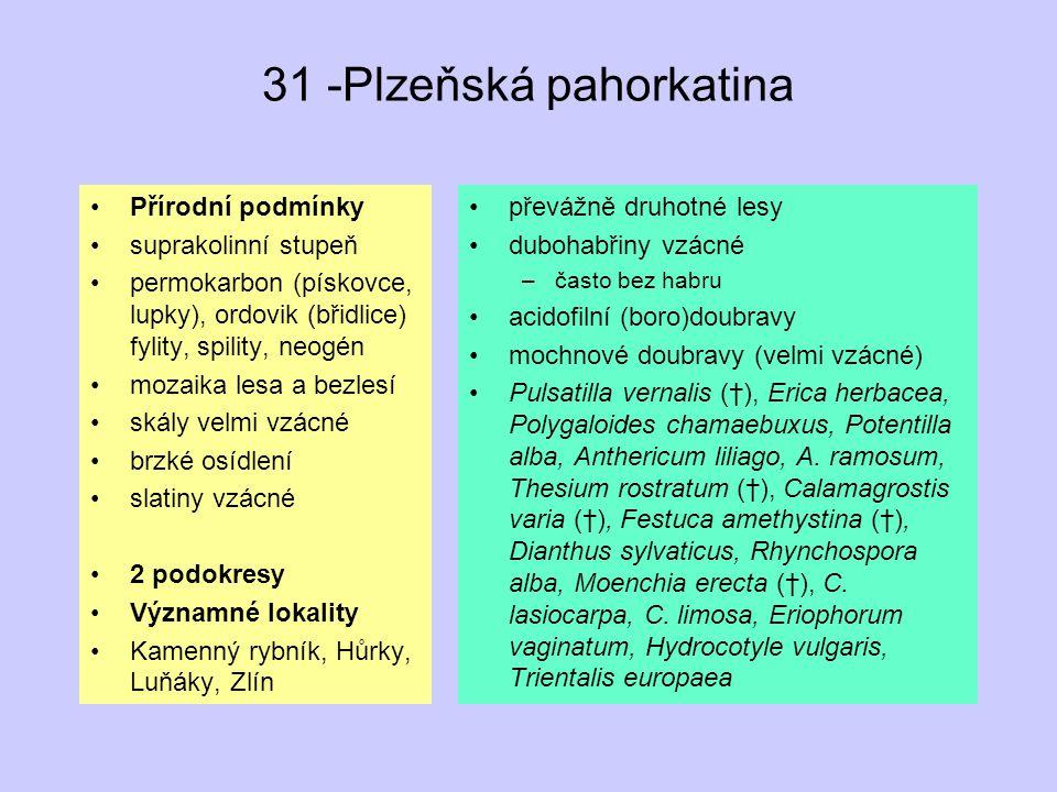 31 -Plzeňská pahorkatina Přírodní podmínky suprakolinní stupeň permokarbon (pískovce, lupky), ordovik (břidlice) fylity, spility, neogén mozaika lesa