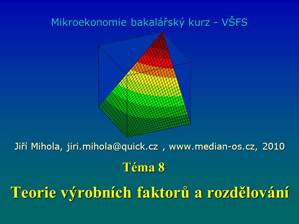 Poptávka po výrobních faktorech Platí, že VF poptává ten, kdo jej nevlastní.