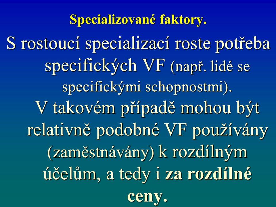 Specializované faktory. S rostoucí specializací roste potřeba specifických VF (např. lidé se specifickými schopnostmi). V takovém případě mohou být re