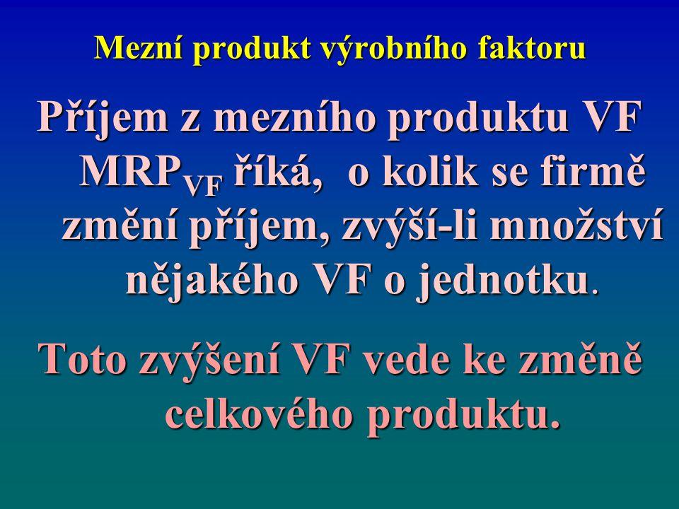 Mezní produkt výrobního faktoru Příjem z mezního produktu VF MRP VF říká, o kolik se firmě změní příjem, zvýší-li množství nějakého VF o jednotku. Tot