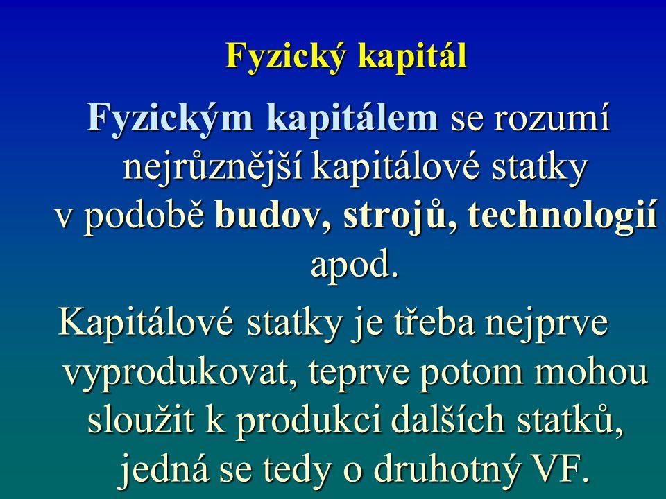 Lidský kapitál Lidský kapitál je označení pro schopnosti, znalosti, dovednosti lidí využívat VF.