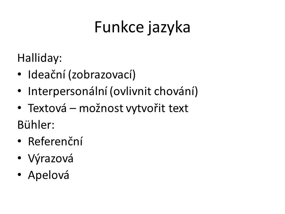 Funkce jazyka Jakobson: Referenční Emotivní = expresivní = výrazová Konativní = apelová Poetická Fatická Metajazyková