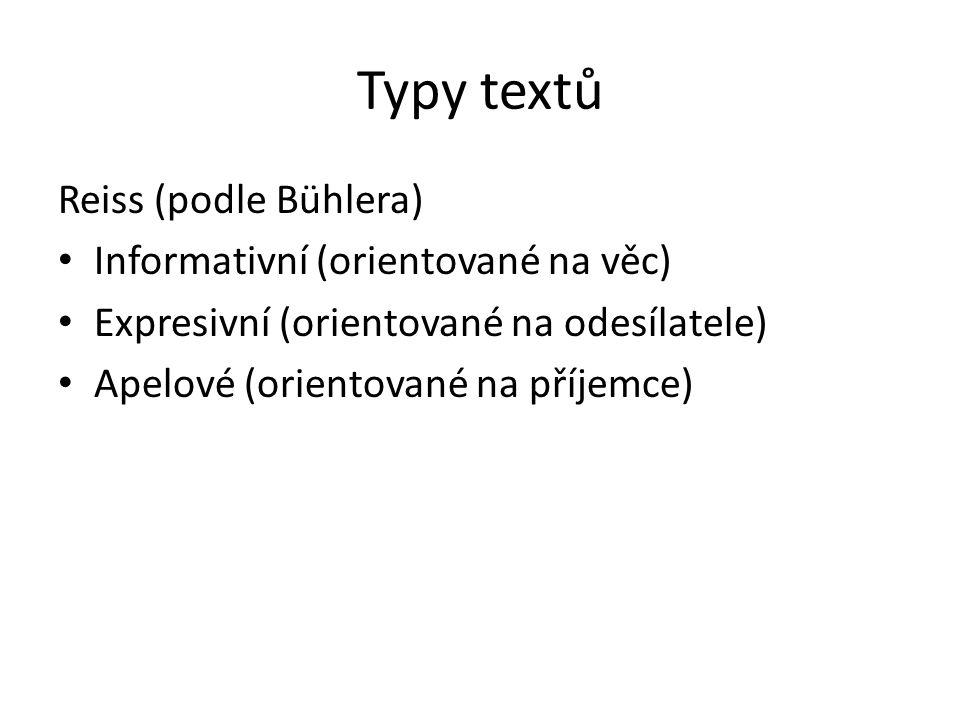 Typy textů Reiss (podle Bühlera) Informativní (orientované na věc) Expresivní (orientované na odesílatele) Apelové (orientované na příjemce)