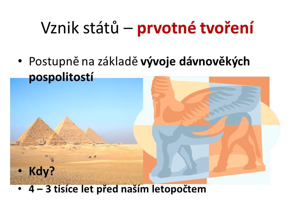 Vznik států – prvotné tvoření Postupně na základě vývoje dávnověkých pospolitostí Kdy? 4 – 3 tisíce let před naším letopočtem