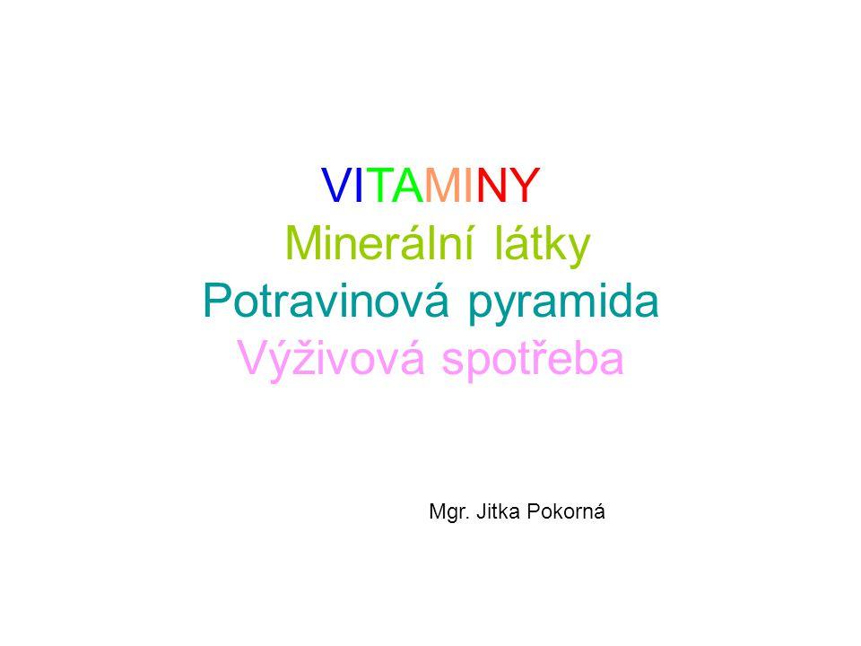 Vitamin B5 – kyselina pantothenová Funkce: metabolismus tuků, sacharidů a bílkovin, tvorba protilátek, syntéza porfirinu, syntéza sterolů DDD: 5-7 mg Deficit:zástava růstu, záněty a šednutí kůže, krvácení do nadledvinek, nedostatečná tvorba červených i bílých krvinek, neplodnost, žaludeční vředy Zdroje:většina kyseliny panthotenové je v potravě ve formě CoA, maso (100g)=0,3-0,9mg, vejce (100g)=1,6- 5,5mg, chléb (100g)=0,4-0,5g Stabilita:vařením ztráta cca 50 % Pozn.