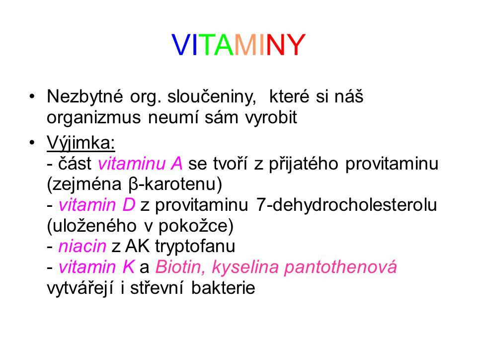 VITAMINY Nezbytné org. sloučeniny, které si náš organizmus neumí sám vyrobit Výjimka: - část vitaminu A se tvoří z přijatého provitaminu (zejména β-ka