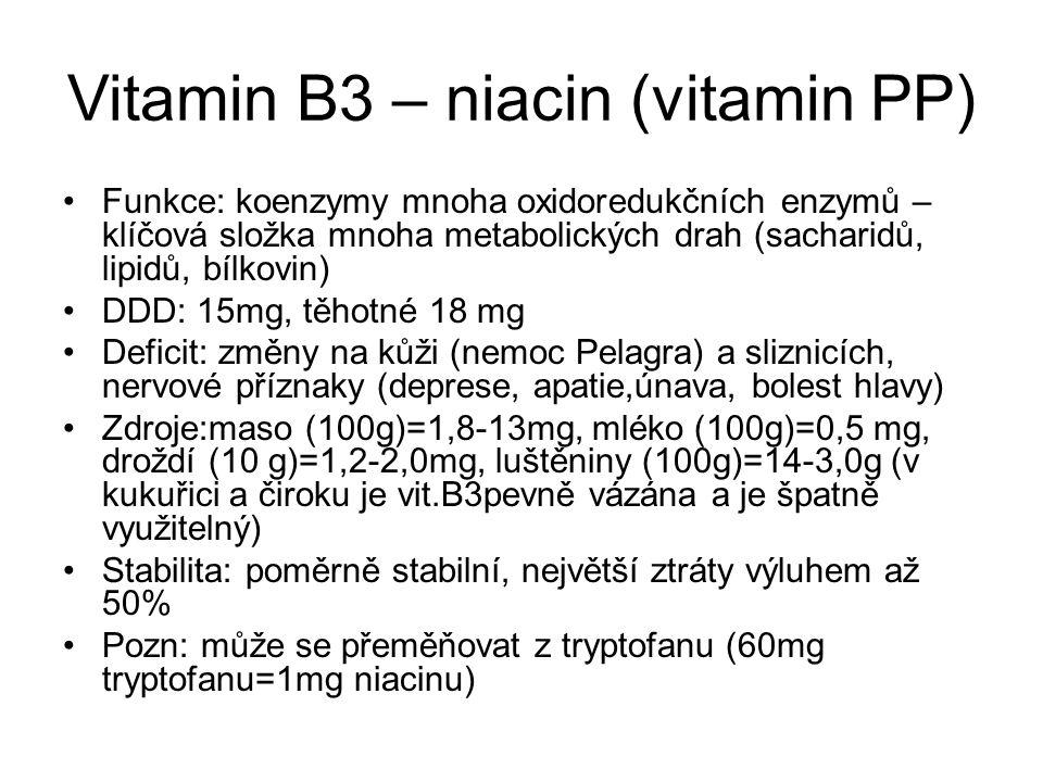 Vitamin B3 – niacin (vitamin PP) Funkce: koenzymy mnoha oxidoredukčních enzymů – klíčová složka mnoha metabolických drah (sacharidů, lipidů, bílkovin)