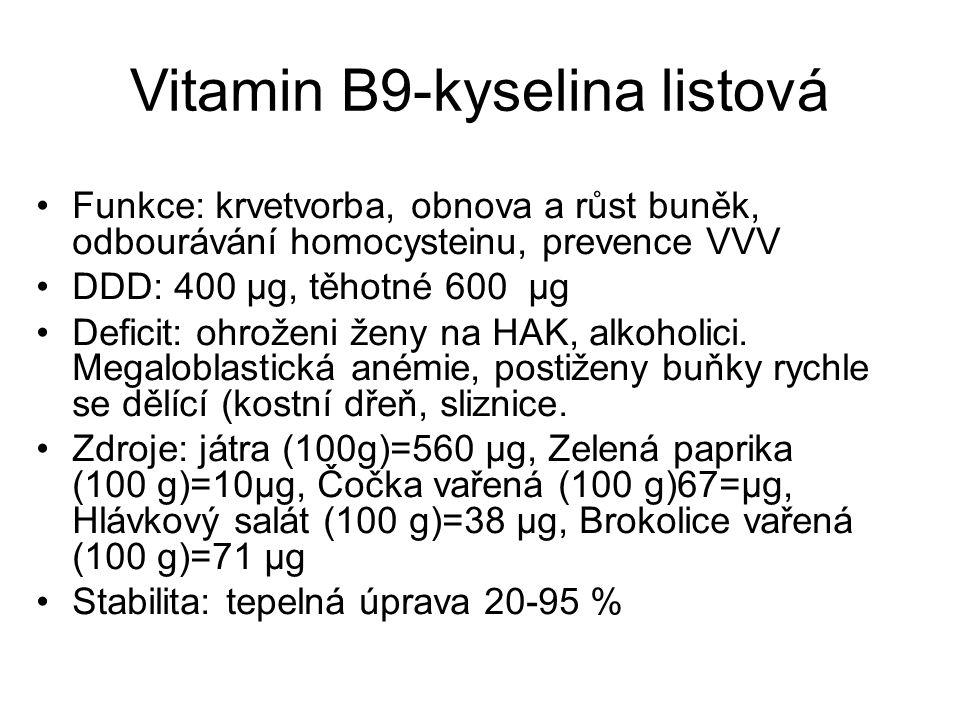 Vitamin B9-kyselina listová Funkce: krvetvorba, obnova a růst buněk, odbourávání homocysteinu, prevence VVV DDD: 400 μg, těhotné 600 μg Deficit: ohrož