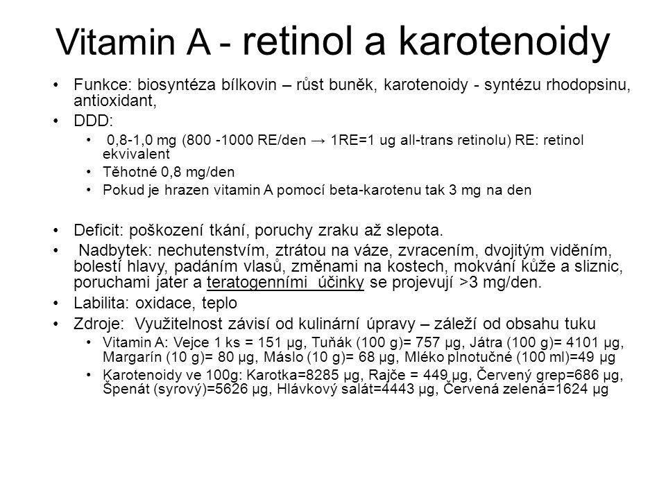 Vitamin A - retinol a karotenoidy Funkce: biosyntéza bílkovin – růst buněk, karotenoidy - syntézu rhodopsinu, antioxidant, DDD: 0,8-1,0 mg (800 -1000