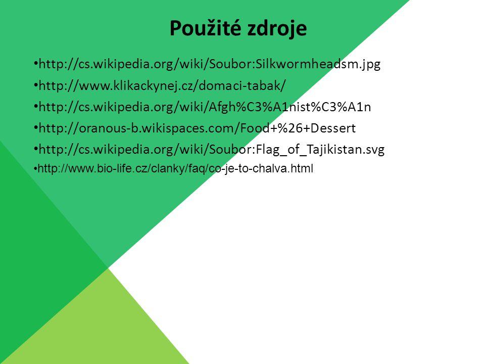 http://cs.wikipedia.org/wiki/Soubor:Silkwormheadsm.jpg http://www.klikackynej.cz/domaci-tabak/ http://cs.wikipedia.org/wiki/Afgh%C3%A1nist%C3%A1n http