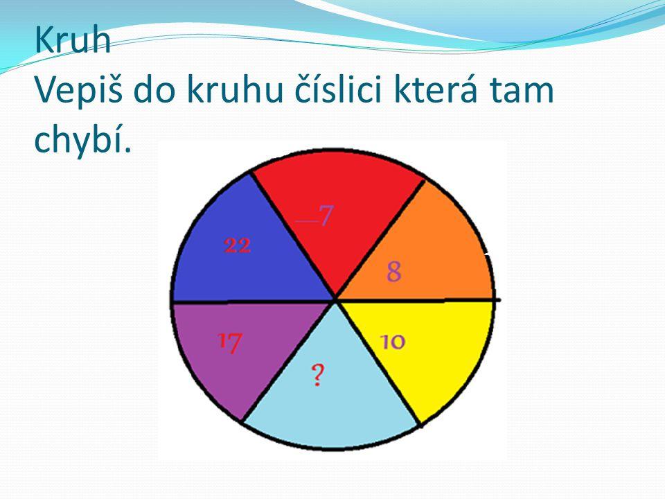 Kruh Vepiš do kruhu číslici která tam chybí.