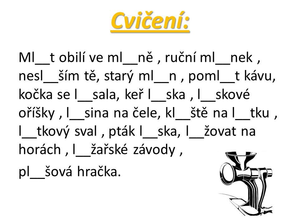 Cvičení: Ml__t obilí ve ml__ně, ruční ml__nek, nesl__ším tě, starý ml__n, poml__t kávu, kočka se l__sala, keř l__ska, l__skové oříšky, l__sina na čele, kl__ště na l__tku, l__tkový sval, pták l__ska, l__žovat na horách, l__žařské závody, pl__šová hračka.