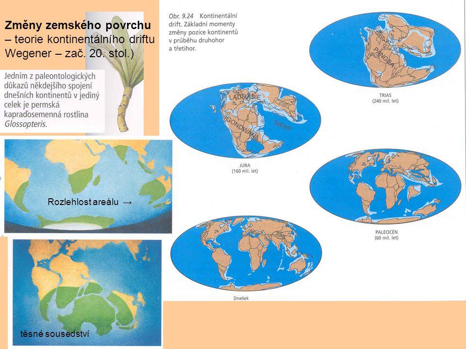 Změny zemského povrchu – teorie kontinentálního driftu Wegener – zač. 20. stol.) Rozlehlost areálu → těsné sousedství