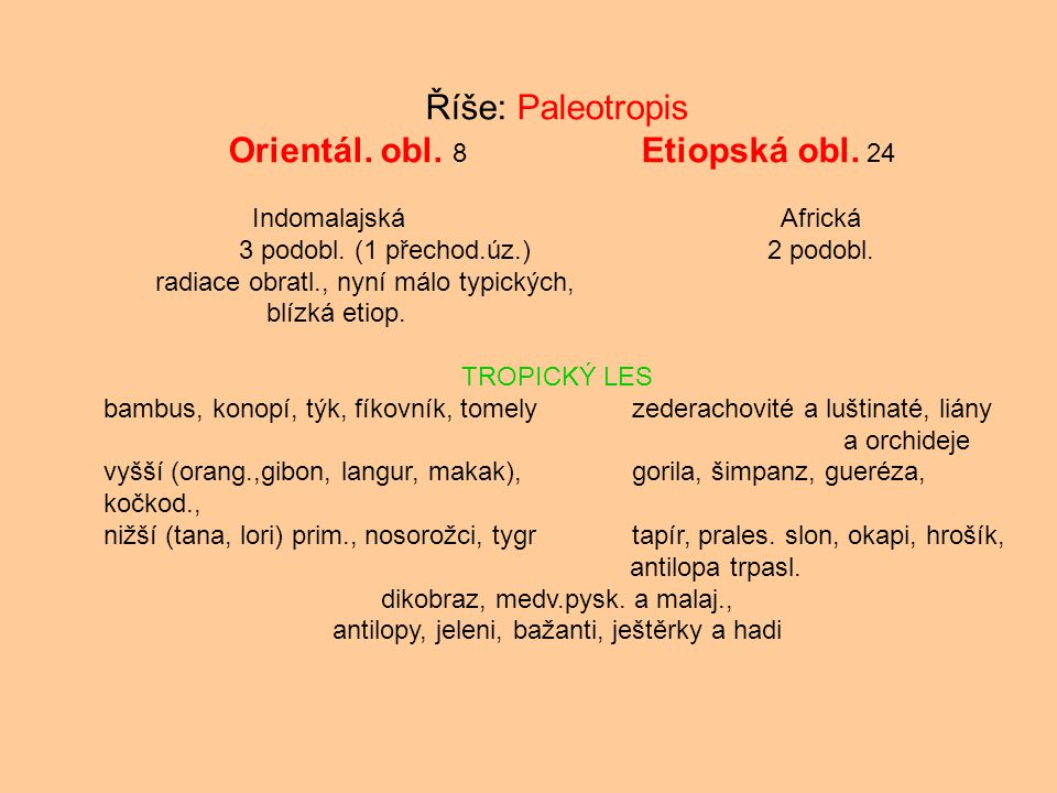 Říše: Paleotropis Orientál. obl. 8 Etiopská obl. 24 IndomalajskáAfrická 3 podobl. (1 přechod.úz.) 2 podobl. radiace obratl., nyní málo typických, blíz