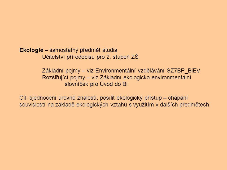 Ekologie – samostatný předmět studia Učitelství přírodopisu pro 2. stupeň ZŠ Základní pojmy – viz Environmentální vzdělávání SZ7BP_BiEV Rozšiřující po