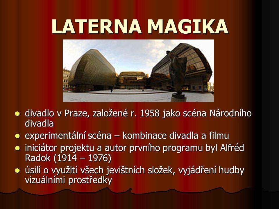 LATERNA MAGIKA divadlo v Praze, založené r. 1958 jako scéna Národního divadla experimentální scéna – kombinace divadla a filmu iniciátor projektu a au