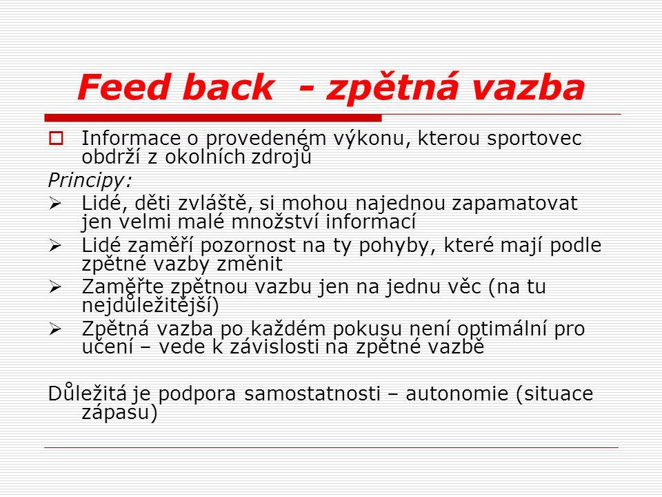 Feed back - zpětná vazba  Informace o provedeném výkonu, kterou sportovec obdrží z okolních zdrojů Principy:  Lidé, děti zvláště, si mohou najednou