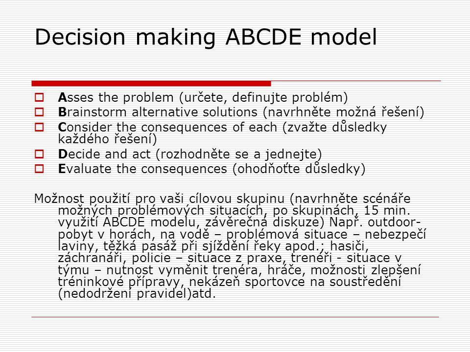 Decision making ABCDE model  Asses the problem (určete, definujte problém)  Brainstorm alternative solutions (navrhněte možná řešení)  Consider the