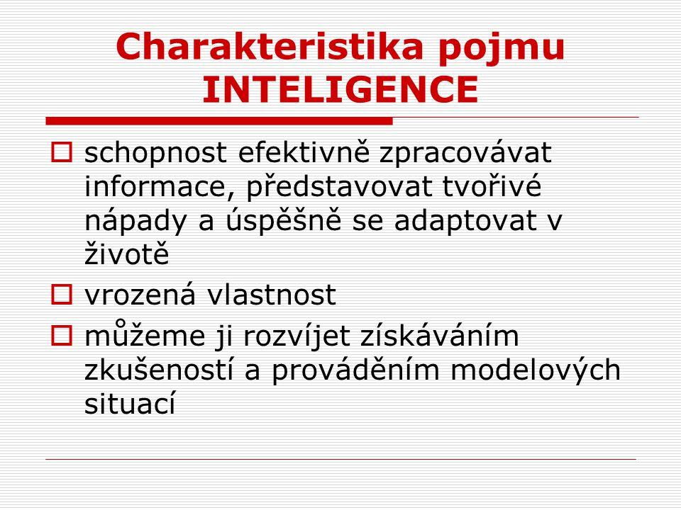 Charakteristika pojmu INTELIGENCE  schopnost efektivně zpracovávat informace, představovat tvořivé nápady a úspěšně se adaptovat v životě  vrozená v
