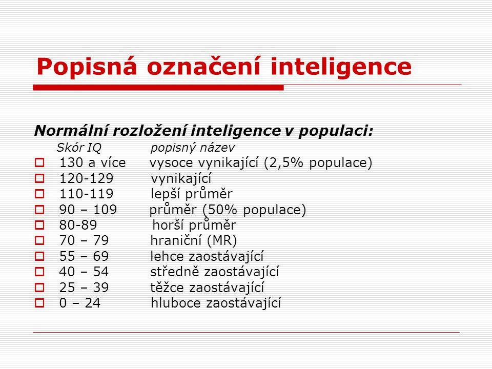 Popisná označení inteligence Normální rozložení inteligence v populaci: Skór IQ popisný název  130 a více vysoce vynikající (2,5% populace)  120-129