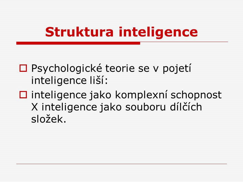 Struktura inteligence  Psychologické teorie se v pojetí inteligence liší:  inteligence jako komplexní schopnost X inteligence jako souboru dílčích s