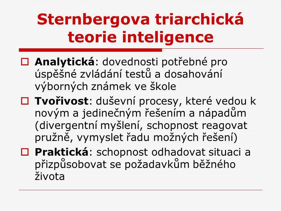 Sternbergova triarchická teorie inteligence  Analytická: dovednosti potřebné pro úspěšné zvládání testů a dosahování výborných známek ve škole  Tvoř