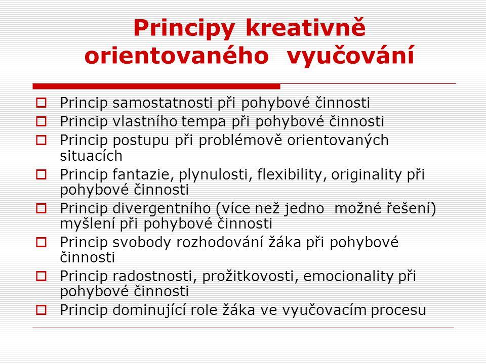 Principy kreativně orientovaného vyučování  Princip samostatnosti při pohybové činnosti  Princip vlastního tempa při pohybové činnosti  Princip pos