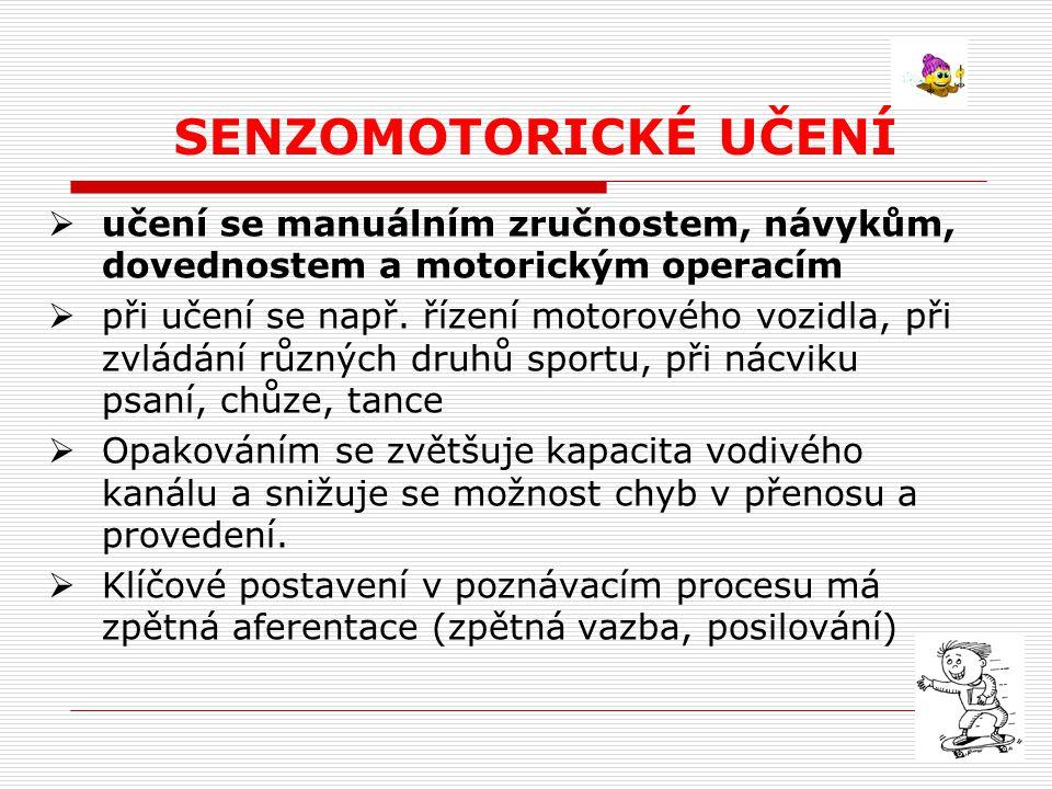 Průběh senzomotorického učení  1.