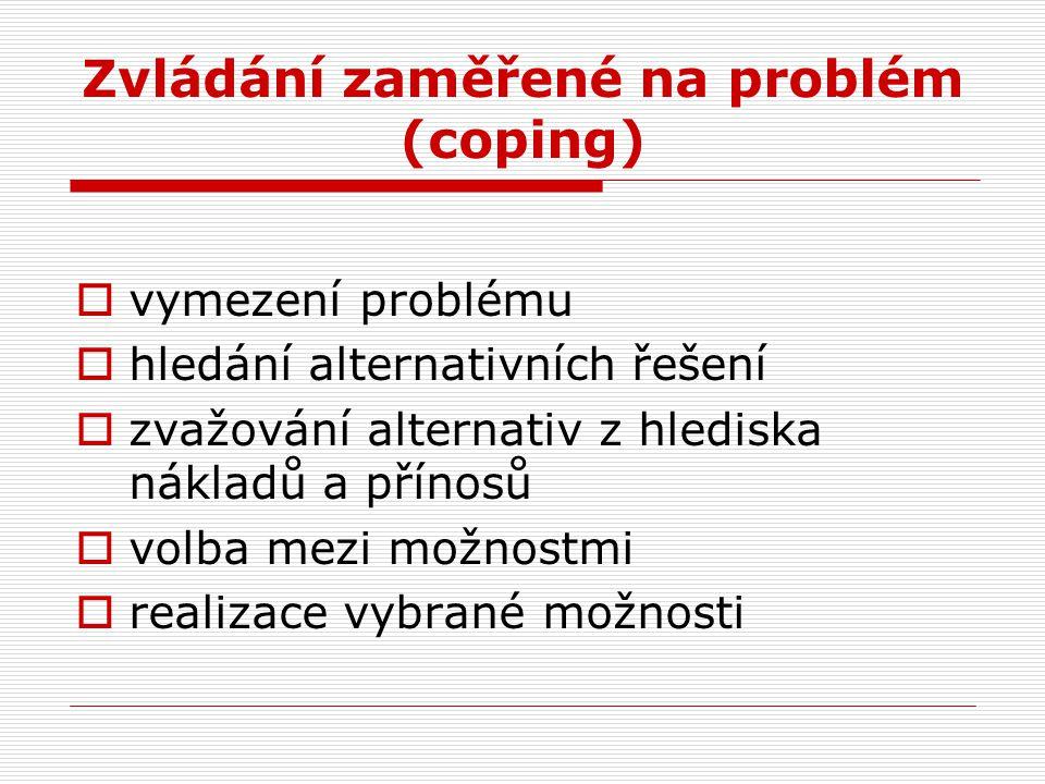 Zvládání zaměřené na problém (coping)  vymezení problému  hledání alternativních řešení  zvažování alternativ z hlediska nákladů a přínosů  volba