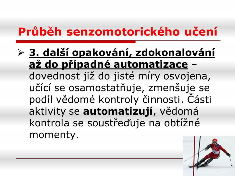 Průběh senzomotorického učení  3. další opakování, zdokonalování až do případné automatizace – dovednost již do jisté míry osvojena, učící se osamost